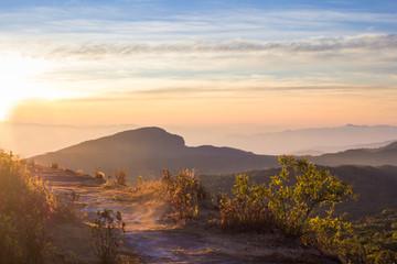 Sun rise moutain landscape view at Inthanon national park Chaingmai, Thailand