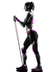 Wall Mural - woman fitness resistance bands silhouette