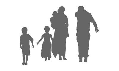 Silhouette von Flüchtlingen - Vektor