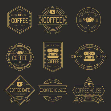 Set of thin line coffee shop labels, banner, ribbon, logo and badges vector set.