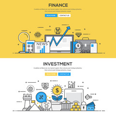 Flat design line concept - Investment and Finance