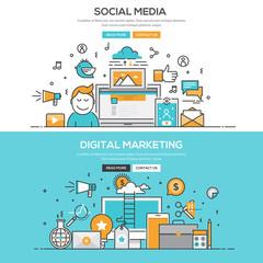 Flat design line concept - Social Meia & Digital M