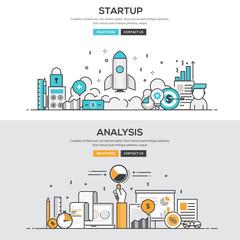 Flat design line concept - Start up & Analysis