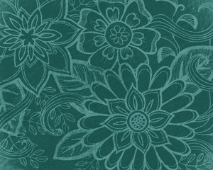 floral pattern in teal green, elegant abstract flowers hand drawn on blue green background, wedding design or website graphic art backdrop, doodled flower art