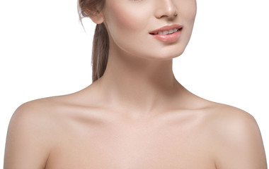 Shoulders neck lips Beautiful woman face close up portrait young studio on white