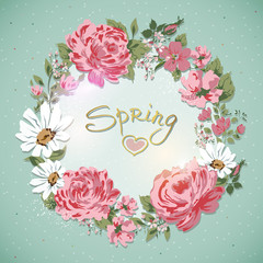 I Love Spring-Border of flowers with text. Romantic Floral Card