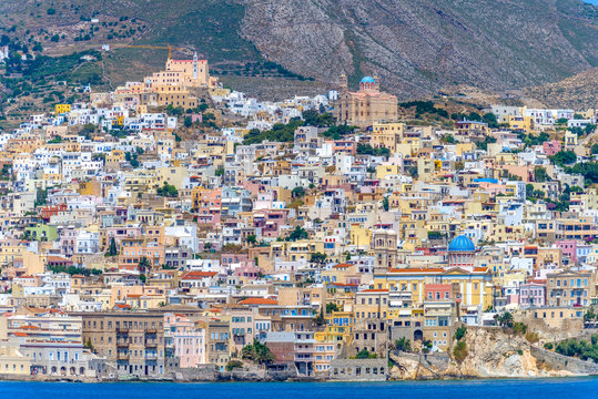 Panoramic view of Syros Island, Greece, during summer.