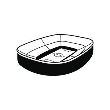 Oval footbal stadium black icon