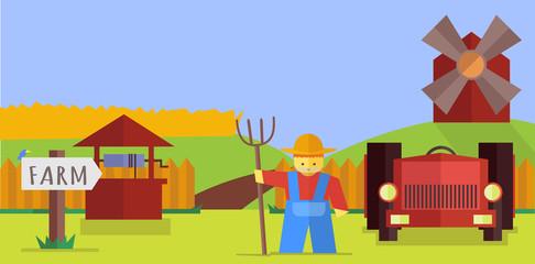 Vector farm illustration
