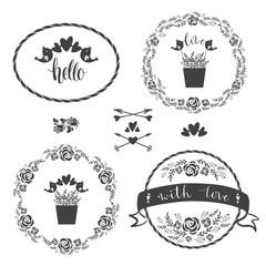 Set of four floral decorative frames, vector.