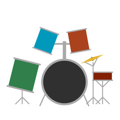 Drum set flat icon