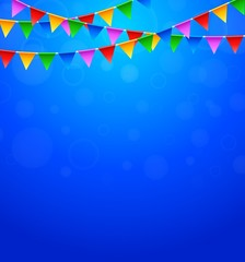 Happy Birthday party with triangle flags in blue background
