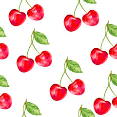 Cherry seamless vector pattern. Perfect for wallpaper, wrapping paper, textile, cosmetics and package design.