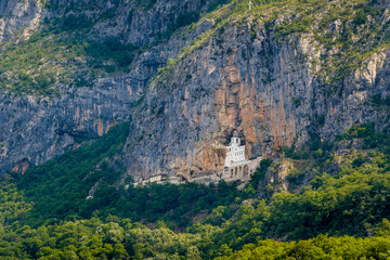 Ostrog old monastery in the rocky mountains of Montenegro. Popular touristic destination.
