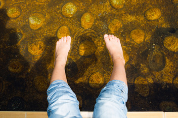 spa and onsen, treatment of feet by hot spring and natural water.