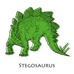 illustration of stegosaurus; kind of dinosaur