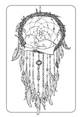 coloring page with child on a dreamcatcher