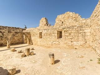 Medieval Limassol Castle ruins fisheye view. Cyprus.