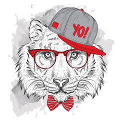 Foto op Plexiglas Hand getrokken schets van dieren The poster with the image tiger portrait in hip-hop hat. Vector illustration.