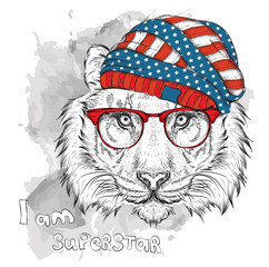 Hand tiger in a USA hat. Vector illustration