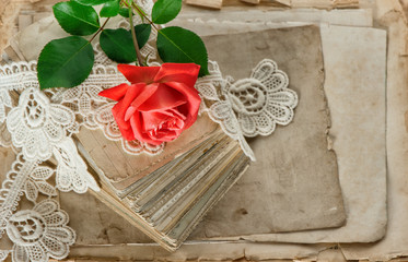 Love letters red rose flower. Papers and lace