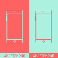 Smartphone outline icon in iphone style on two coloured background. Mobile phone mock up. Perfect for application demo. Linear design. Isolated vector illustration.
