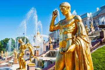 Golden statue at Grand cascade fountains, St Petersburg, Russia