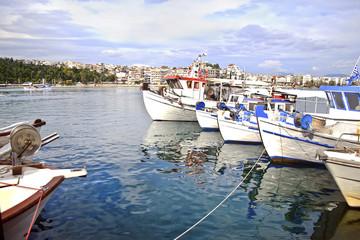 fishing boats at Chalcis Euboea Greece - crazy water phenomenon