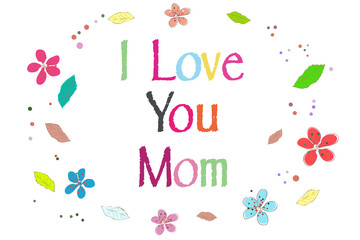 I love you mom on Mother's Day greeting card printed balloons vector