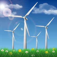 Wind turbines on a grass field. Ecology concept vector illustration.