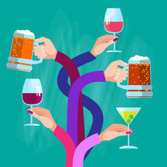 Hands Group Holding Glasses Drinks Cocktail Beer Wine Celebration Vector Illustration
