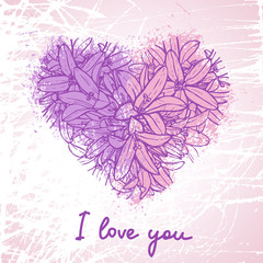 grunge heart made of flowers and blots, romantic card with love text