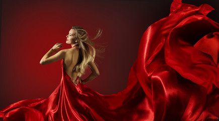 Woman in Red Dress Dancing, Fashion Model Flying Fabric Cloth