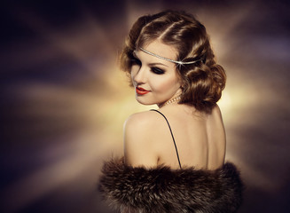 Woman Retro Portrait, Fashion Model Turning Shoulder, Jewelry