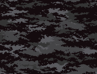 Digital pixel camouflage black seamless pattern