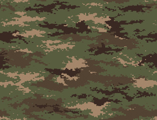 Digital pixel camouflage green seamless pattern