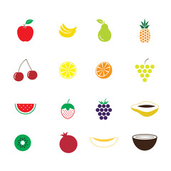 Colourful fruit icons