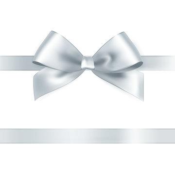 Shiny white satin ribbon