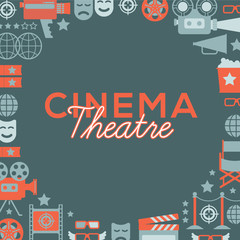 Decorative template with cinema symbols and signs. Cinema theatre illustration for web, flyers, print design.