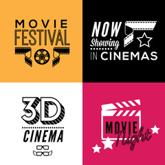 Set of four decorative compositions with cinema symbols and text. Cinema theatre illustration for web, flyers, print design.
