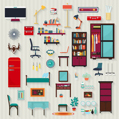 Set of vector rooms furnitures of house .