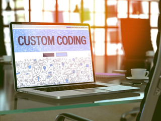 Modern Workplace with Laptop Showing Landing Page in Doodle Design Style with Text Custom Coding. Toned Image with Selective Focus. 3d Render.