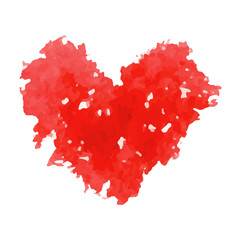 Watercolor vector red heart.