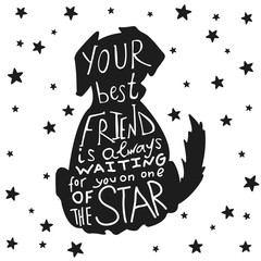 Dog friends grungy card for Friendship Day with quote.