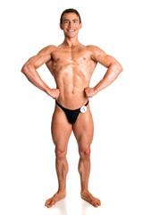 Bodybuilder Posing on White
