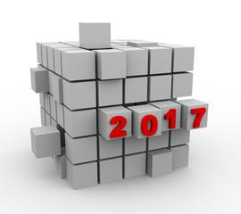 3d abstract blocks year 2017