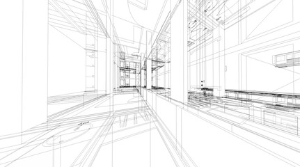 Fototapete - Abstract 3D rendering of building wireframe structure.