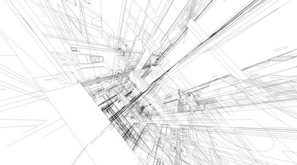 Abstract 3D rendering of building wireframe structure.