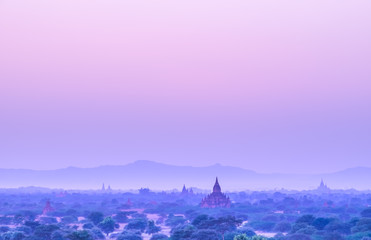 Sunset scene with Pagoda field in Bagan,Myanmar