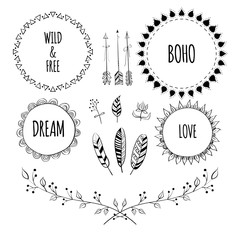 Set of Boho Style Frames and hand drawn elements. Hand drawn sign in boho style with arrows and feathers. Set of Ornamental Boho Style Elements. Vector illustration.